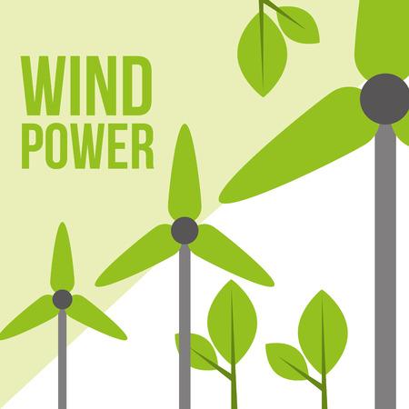 green wind power turbines ecology sustainable vector illustration
