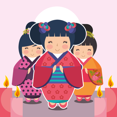 group cute japanese kokeshi doll in kimono vector illustration 向量圖像