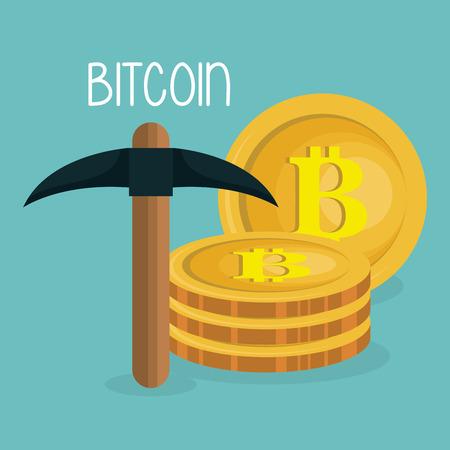 pile bitcoins with pick vector illustration design Ilustração