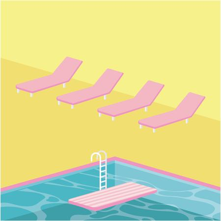summer time vacation deck chair pool stairs vector illustration
