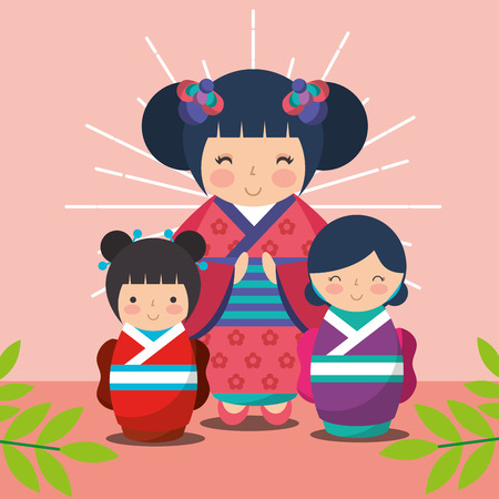 japanese kokeshi dolls kimono plants sunburst grunge style vector illustration