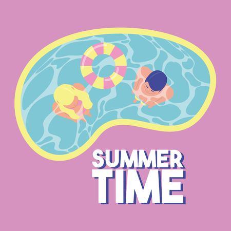 Pareja de vacaciones de verano en la ilustración de vector de flotador de piscina
