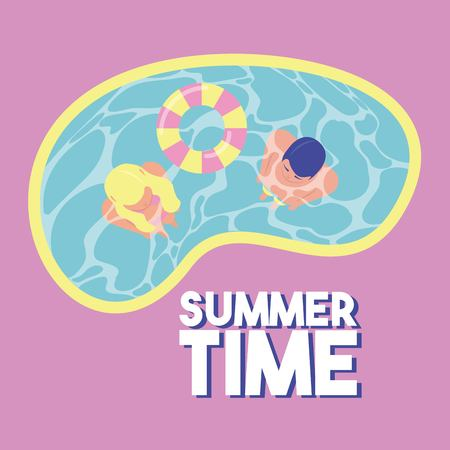 summer time vacation couple in the pool float vector illustration Illustration