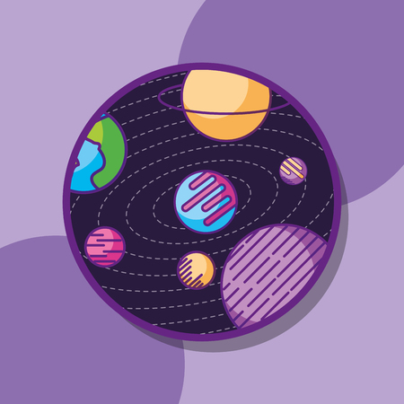 space galaxy cosmic card solar system connection world vector illustration