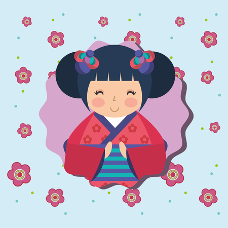 cute traditional japanese kokeshi doll in kimono flowers background vector illustration