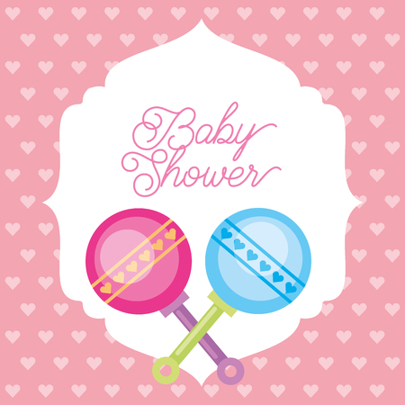 pink and blue toy rattles hearts background baby shower card vector illustration
