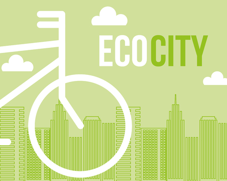 eco city bicycle transport environmental vector illustration