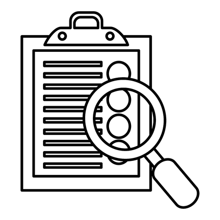 clipboard checklist with magnifying glass vector illustration design
