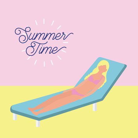 summer time vacation blonde girl lying down in deck chair enjoy vector illustration Иллюстрация