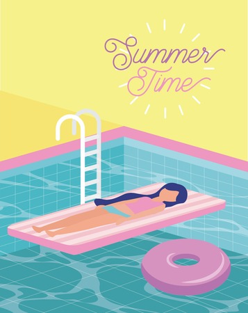 summer time vacation girl lyign down in the pool enjoying day vector illustration