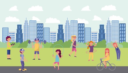 people park and city womans mans doing exercise riding bicycle vector illustration Illustration