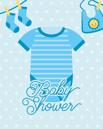 blue bodysuit and socks bib baby shower card vector illustration Çizim