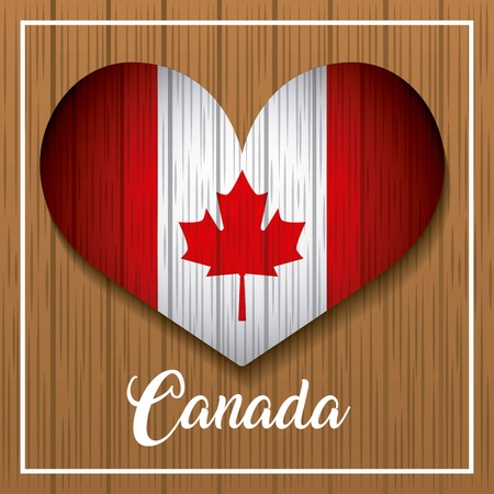 happy canada day card grunge background heart leave maple background vector illustration Illusztráció