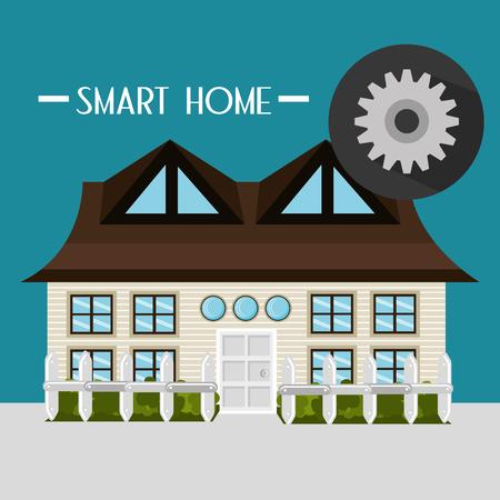 smart house with gear setup service vector illustration design