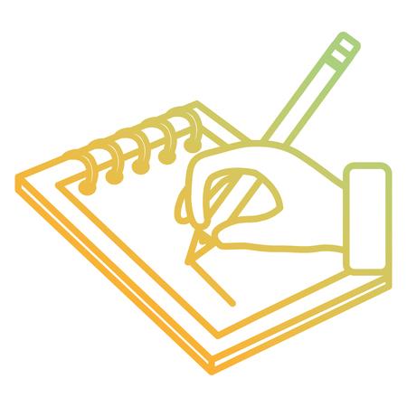 hand writing in notebook school education vector illustration design