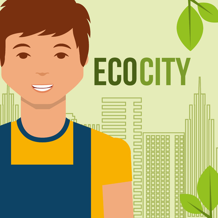 young man eco city alternative environment vector illustration
