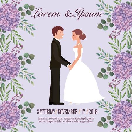 bruid en bruidegom hand in hand bruiloft kaart vectorillustratie