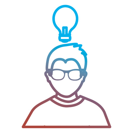 man with bulb icon vector illustration design