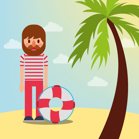 nautical maritime design palm beach pirate with float rescue vector illustration