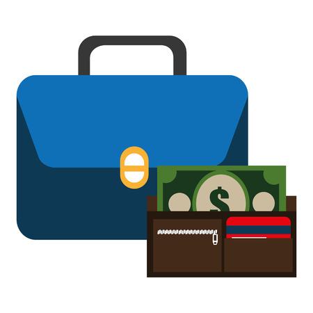 portfolio with wallet and bills money vector illustration design Ilustração