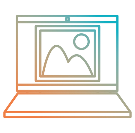 laptop computer with picture file vector illustration design Illustration