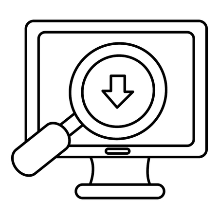 computer with magnifying glass vector illustration design