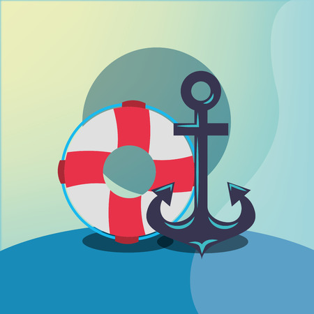 nautical maritime design anchor float rescue vector illustration Illusztráció