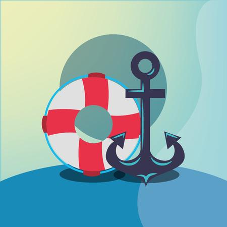nautical maritime design anchor float rescue vector illustration Illustration