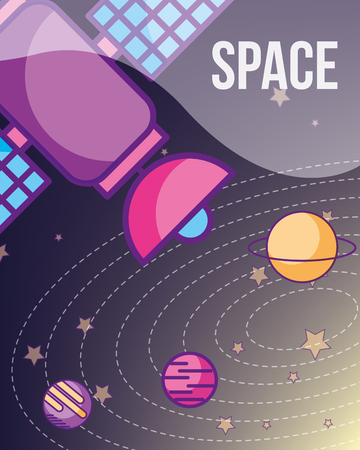 space galaxy cosmic card satelite solar system stars signal vector illustration Ilustracja