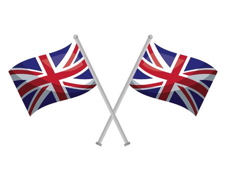 drapeaux du royaume-uni croisés en illustration vectorielle de poteaux