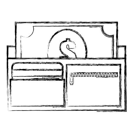 wallet and bills money vector illustration design Ilustração