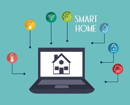 smart house with laptop and set services icons vector illustration design Иллюстрация
