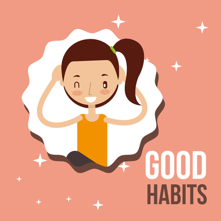 cute girl activity lifestyle good habits vector illustration