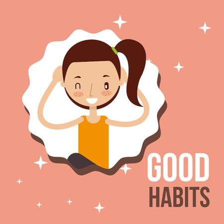 jolie fille activité mode de vie bonnes habitudes illustration vectorielle