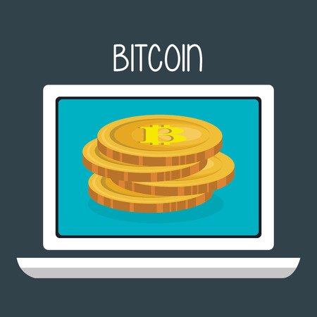 bitcoin business with laptop computer vector illustration design