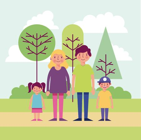 people park happy family smiling outdoor day vector illustration