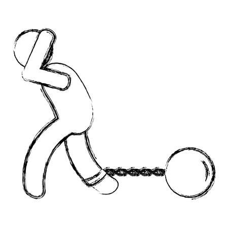 human silhouette lifting money bag and slave shackle vector illustration design Illustration