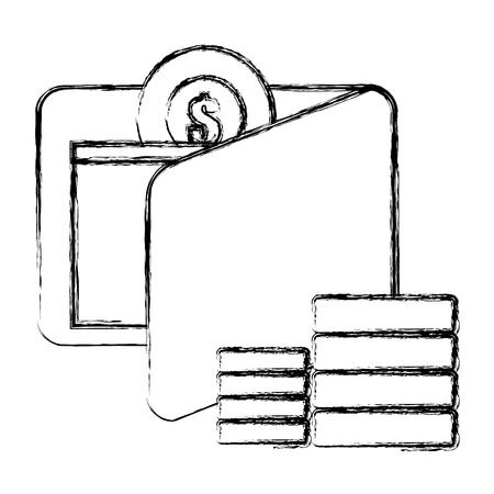 wallet and coins money vector illustration design Ilustração