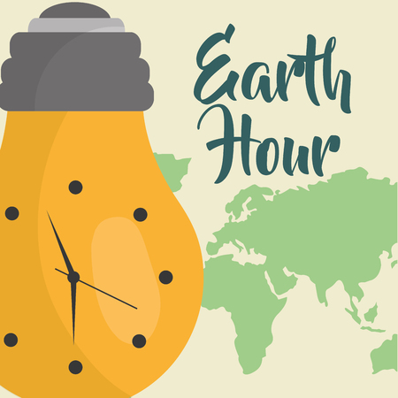 earth hour clock in light bulb vector illustration
