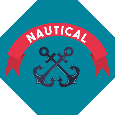 nautical maritime design ribbon sign anchors vector illustration