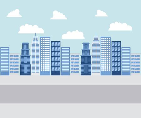 city blue buildings high clouds road street vector illustration