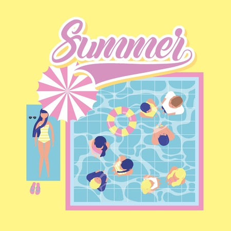 summer time vacation pool day people enjoying floats girl lying down vector illustration