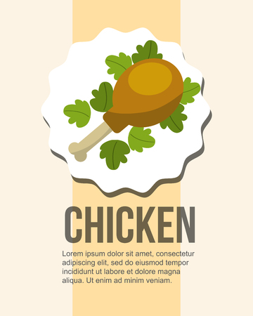 fresh chicken leg and delicious salad healthy food vector illustration
