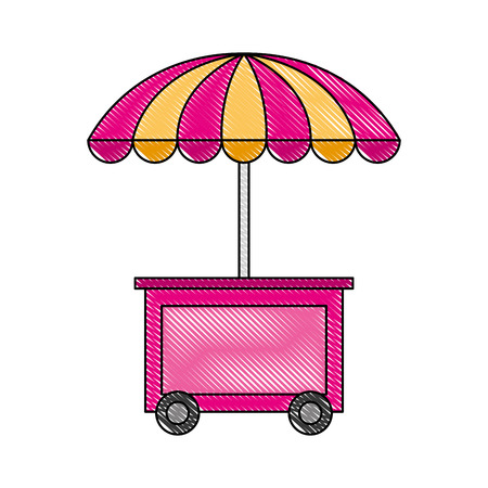 booth ice cream with umbrella vector illustration Illustration