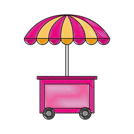 stand gelato con illustrazione vettoriale ombrello