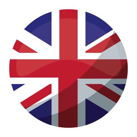 round flag british national button vector illustration