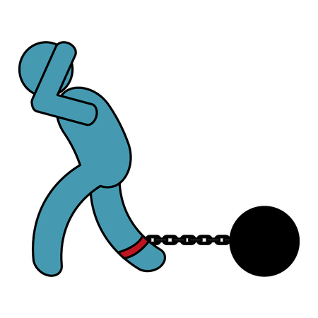 human figure with slave shackle vector illustration design