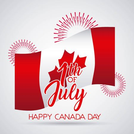 happy canada day card fireworks celebration wave flag firts july vector illustration 일러스트