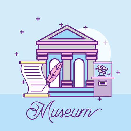 museum monuments design paper prehistoric dinosaur writing pen vector illustration Çizim