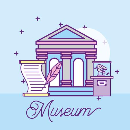 museum monuments design paper prehistoric dinosaur writing pen vector illustration Illustration